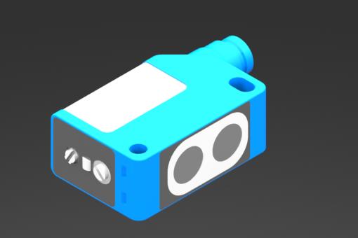 Bild von Kubischer optischer Sensor, Baureihe SOQ, PNP, einstellbar bis 200 mm, NO/NC-Auswahl, 10/30 Vdc, 0,1 A, M8 Stecker, 4 Pin - SOQ8N2-G
