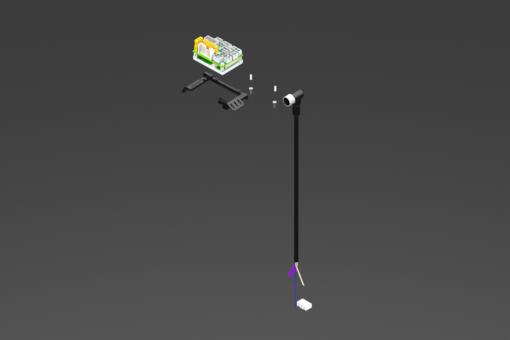 Kit mit Kabeln, Verbindern und Drive für MPLF: USB-Kabel, M12-Kabel für Phasen und Motorencoder, Kabel und I/O-Verbinder, CANopen-Kabel, 3-pol.Speisekabel 2,5 m. Drive DRV24MAXIN15IP045 inbegriffen - MPLF-KIT-01