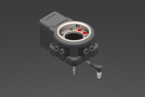 Elektrischer Werkzeugwechsler, 24Vdc, Roboterseite, Nutzlast 20kg, IP54, M8-Winkelstecker, 8-polig, NPN-Steuerung, 2 PNP-Digitalausgänge, 6 pneumatische Anschlüsse ø6mm-Rohr. Zentrierdorne inbegriffen - EQC20TM-A