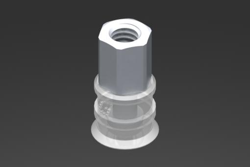 Изображение Присоска VG.U11, силикон, соответствующий требованиям FDA, твердость 50 по Шору, охватывающий фитинг М5, шестигранник 8 мм - 2321406