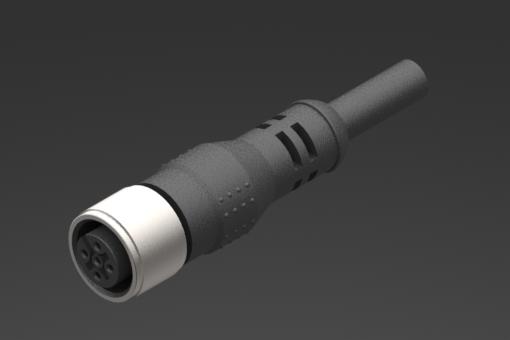 Gerader weiblicher M8-Stecker mit Ring, 8-polig, PUR-Rundkabel Länge 2,5 Meter - CFGM800825P