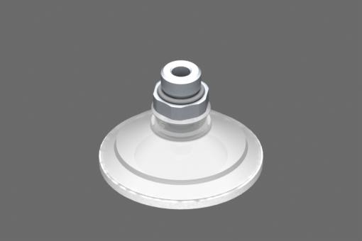 Изображение Присоска VG.U53, силикон, соответствующий требованиям FDA, твердость 50 по Шору, G1/4″ нар. резьба, шестигранник 17 мм с кольцом из силиконовой пены - 0321453