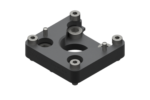 Imagen de Brida de fijación EQC05-A para robot con interfaz ISO 9409-1-40-4-M6. Tornillos, casquillos y pasadores de centrado incluidos - EQC05-K40