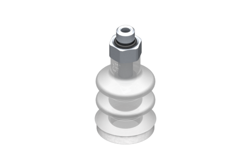 VG.LB16 suction cup, FDA-compliant silicone, 50 Shore, M5 male, 8 mm hex with FDA-compliant silicone foam ring - 0221747