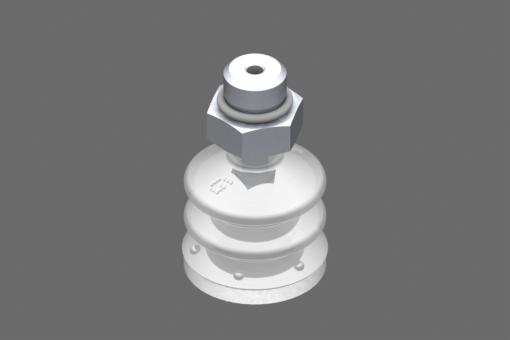 VG.LB22 suction cup, FDA-compliant silicone, 50 Shore, G1/8″ male, 13 mm hex with FDA-compliant silicone foam ring - 0221754