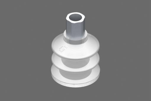 VG.LB33 suction cup, FDA-compliant silicone, 50 Shore, G1/8″ female, 12 mm hex with FDA-compliant silicone foam ring - 0221757