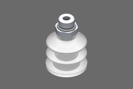 VG.LB33 suction cup, FDA-compliant silicone, 50 Shore, G1/4″ male, 17 mm hex with FDA-compliant silicone foam ring - 0221763