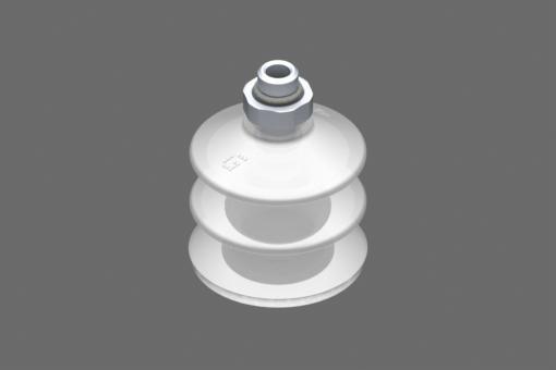 VG.LB42 suction cup, FDA-compliant silicone, 50 Shore, G1/8″ male, 16 mm hex with FDA-compliant silicone foam ring - 0221768